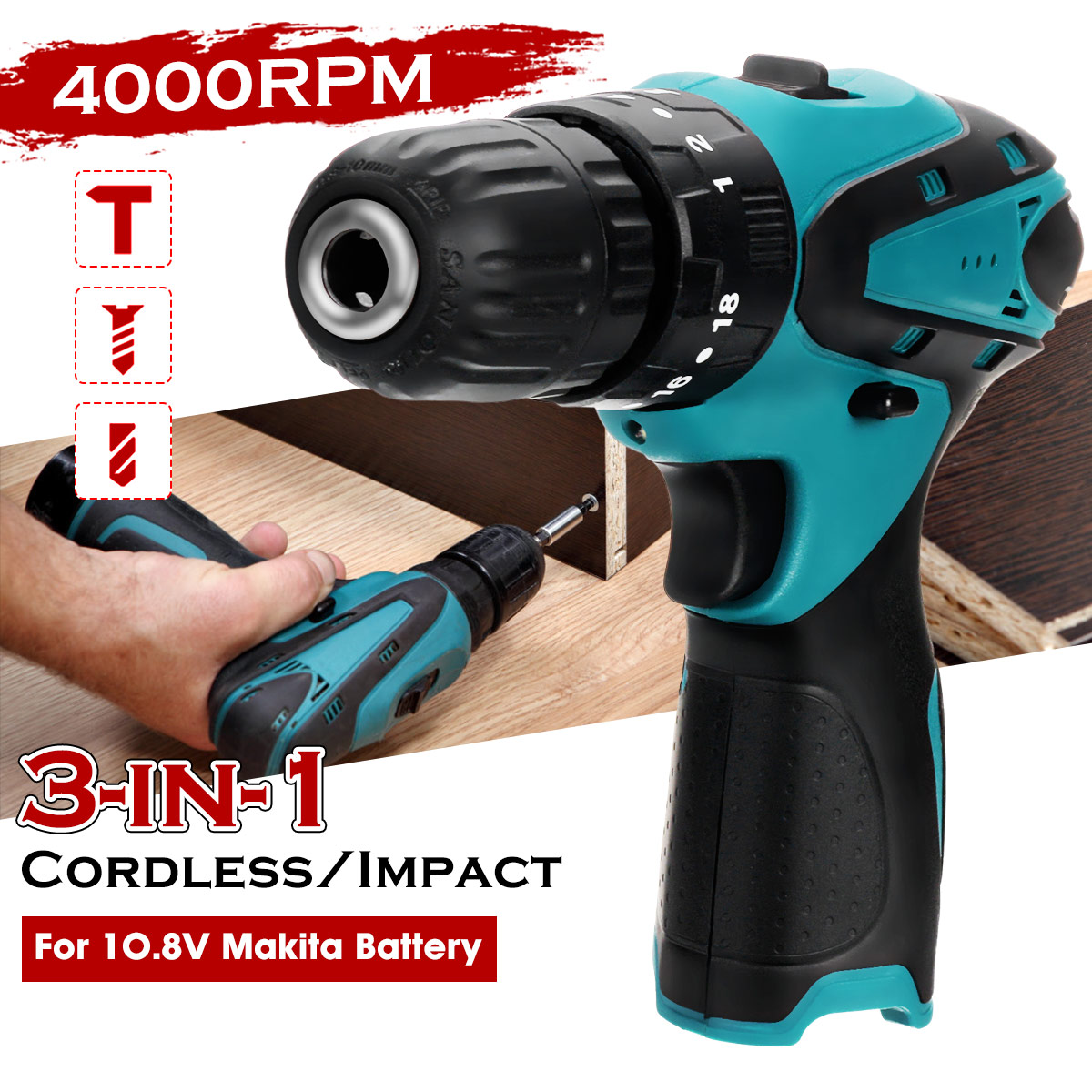 Drill Battery 3 2 Wireless Power 10mm For Driver 18 8V Makita Cordless Electric Torque Power  Tool Speed 10 Screwdriver