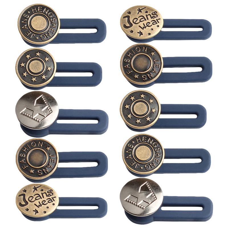 10 шт./набор, бесплатная швейные пуговицы выдвижной джинсы с эластичной резинкой на пуговицах Металл Расширенный пряжки брючный пояс с ножны...