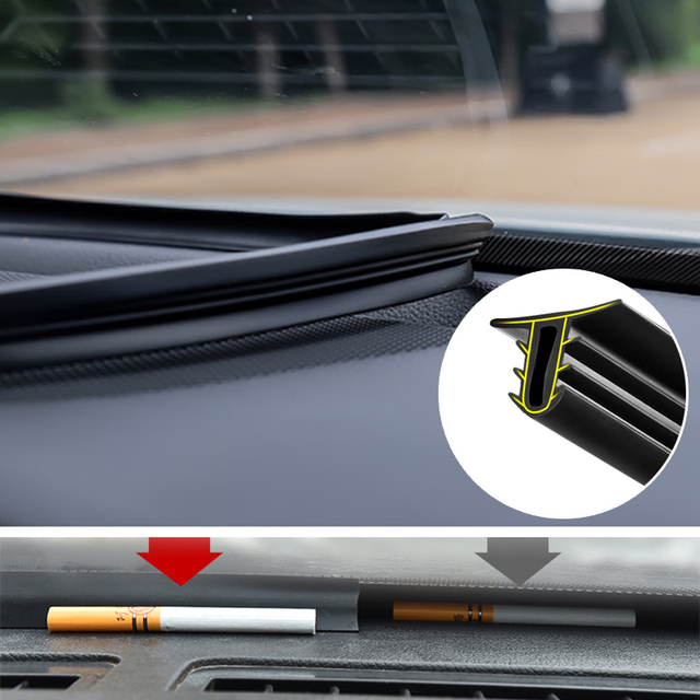 1.6M 자동차 앞 유리 대시 보드 방음 씰 씰링 고무 스트립 자동 소음 방음 씰 테이프 액세서리 인테리어