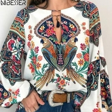 NIBESSER 2019 Boho Blouse Floral Print Lantern Sleeve Shirt Sexy Lace-up Tassel O Neck Women Tops Spring Summer Chic Blouses 5XL chic round neck raglan sleeve feather print blouse for women