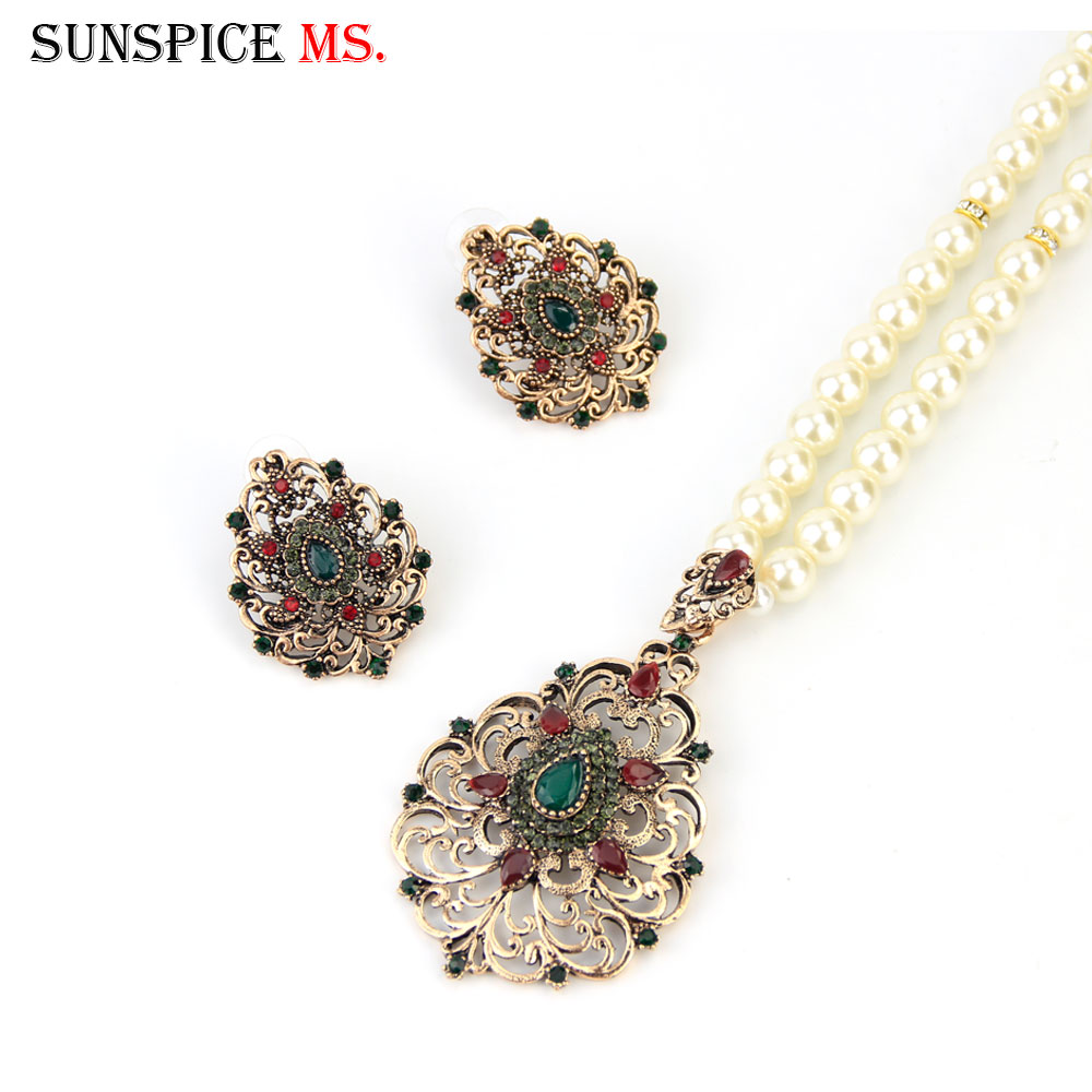 Sunspicems Gold Color Turkish Pearl Chain Pendant Necklace Earring Sets for Women Moroccan Ethnic Wedding Jewelry Bridal Gift