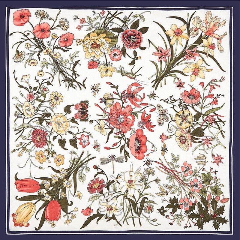 60*60 Brand Scarf Women Silk Feeling For Ladies Multifunction Fashion Printed Scarves Tie Headband Flower Spring Neckerchief