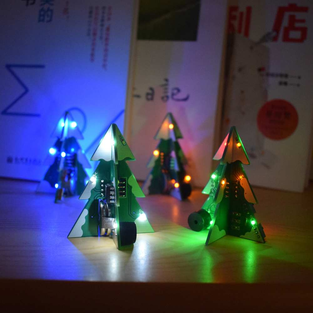 DIY Kit RGB Flash LED Circuit Kit Colorful 3D Christmas Trees Kit MP3 Music Box Christmas Gift Electronic Fun Suite