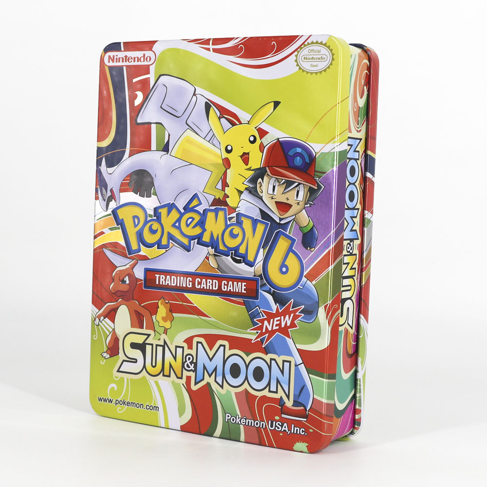 TAKARA TOMY PTCG Desktop Pokemon Flash Cards Collections GX Evolutions Children Toys Big Metal Box Big Shining Card