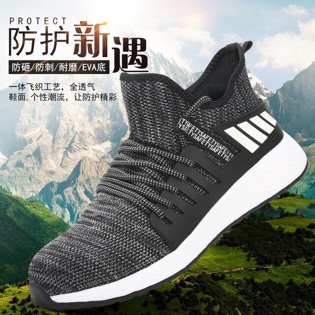 Iş ayakkabısı çelik ayak ile Mens yıkılmaz botları hafif nefes delinme geçirmez koruyucu ayakkabı yumuşak hafif