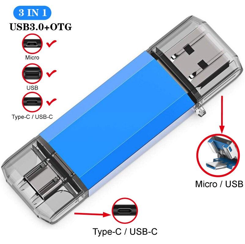 3 в 1 Type C 3,0 USB флеш-накопитель 256 ГБ 128 ГБ Высокое качество Micro Usb флешка 16 ГБ 32 ГБ 64 ГБ Флешка для устройства Type-C
