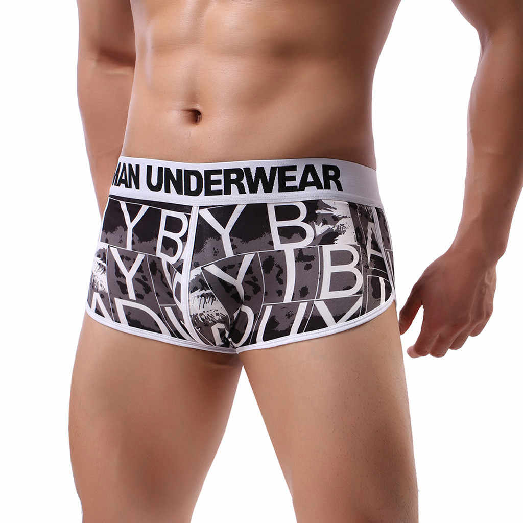 Underwear Men Sexy Printing Soft Boxershorts Shorts Male Panties Underpants Knickers Trunks   Sexy Underwear cueca masculina NEW