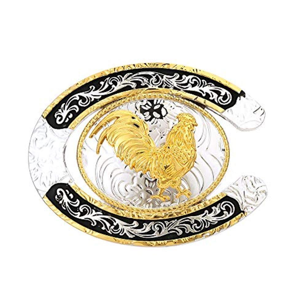 U Shape Gold Rooster Buckle For Man Western Cowboy Buckle Without Belt Custom Alloy Width 4cm