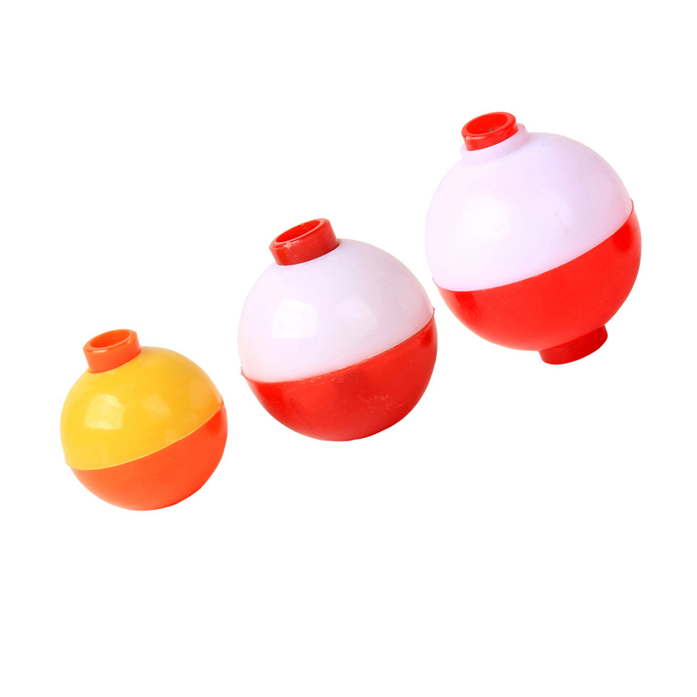 """RED /& WHITE 25-PACK LARGE 3/"""" inch Foam Snap-On Fishing Bobbers"""