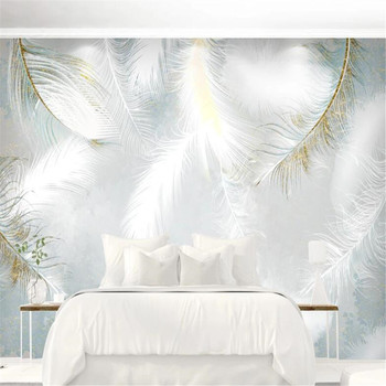 Milofi custom 3D photo mural wallpaper simple hand-painted watercolor feather nordic small fresh background wall wallpaper недорого