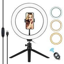 Trípode de Anillo de luz LED para fotografía con Control remoto, 3200K 5500K, regulable, para vídeo en directo tik tok