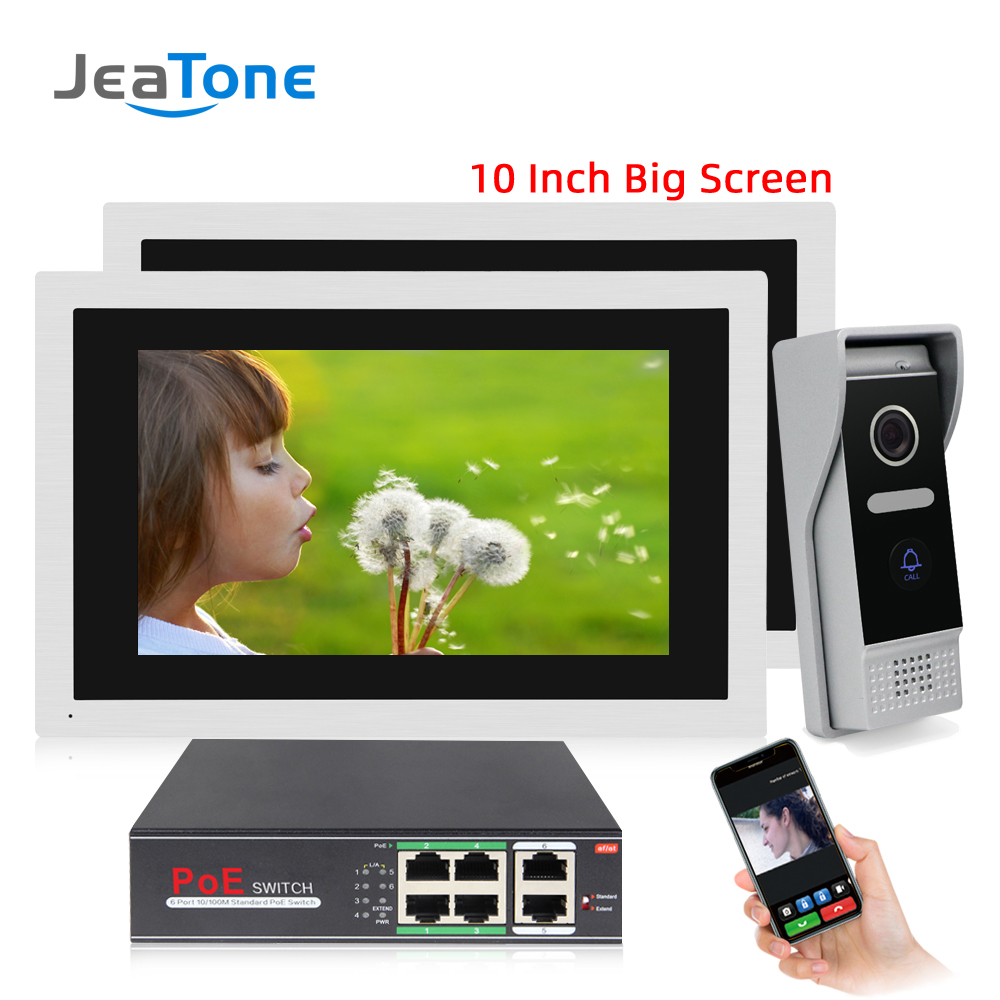 JeaTone HD 10 Inch Big Touch Screen WiFi IP Wired Video Door Phone Intercom Kit 1 To 2 Home Access Control System Android IOS