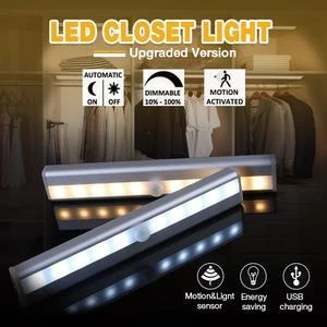 6/10 LEDs PIR inteligente luz LED con Sensor de Movimiento Armario armario lámpara de cama LED bajo armario luz de noche para armario escaleras Cocina 85-265 V, luz infrarroja para interiores y exteriores, Sensor de movimiento, retardo de tiempo, interruptor PIR de iluminación para el hogar, lámpara nocturna sensible Led