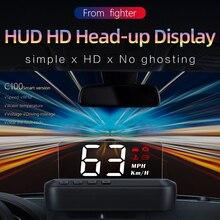 カーhudヘッドアップディスプレイobd2 euobdフロントガラス電子電圧警報gps hudディスプレイC100速度超過警告システムプロジェクター