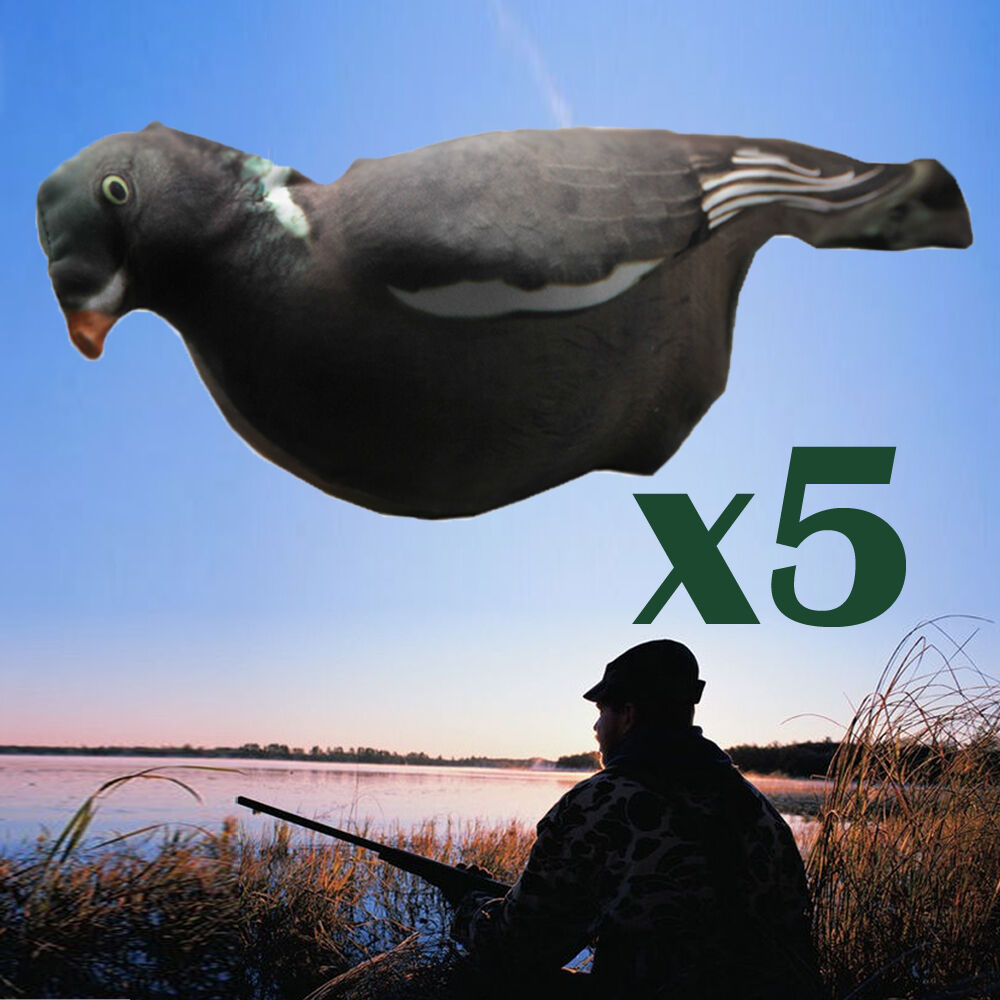5Pcs Flocked Full Body Realistic 3D Pull Pigeons Covers Flexible Fabric Decoys