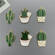 Cactus Charms Bracelet Keychain Pendant Necklace Earring Drop-Oil-Accessory Jewelry-Making