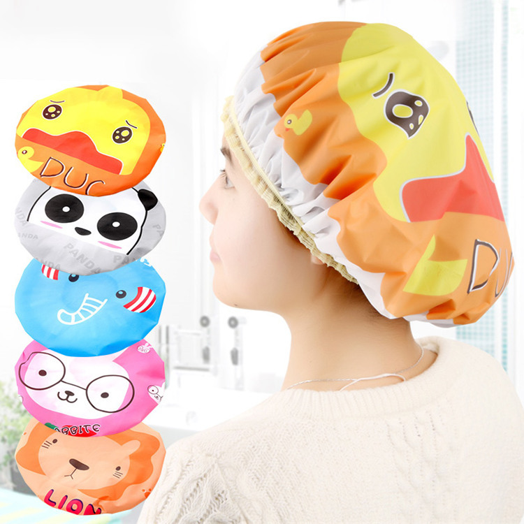 1Pc Cute Cartoon Shower Bath Cap Women Hat For Baths And Saunas Face Eelastic Band Cap Spa Women Kids Hair Protective Cap