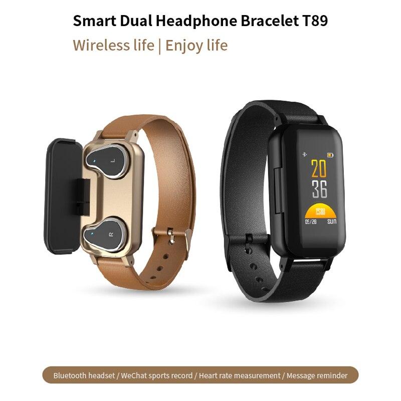 Montre intelligente T89 hommes avec Bluetooth écouteur