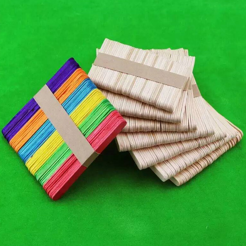 50pcs/lot Wooden Popsicle Sticks Kids Hand Crafts Art Ice Cream Lolly Cake Sticks DIY Puzzle Making Funny Children Toy Gifts