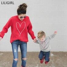 LILIGIRL/Одинаковая одежда для семьи Осенняя футболка с длинными рукавами и принтом в виде сердца для мамы и дочки одежда для мамы и меня Одинаковая одежда