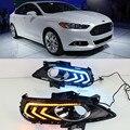 CSGJMY 2 шт для Ford Mondeo Fusion 2013 2014 2015 2016 дневные ходовые огни 12В Светодиодный дневной светильник с отложным воротником желтый сигнал реле