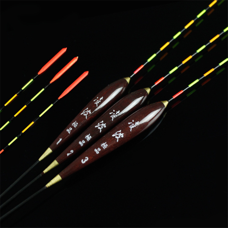 3pcs Fishing Float Wood Fluorescent High Sensitivity Bobber Luminous Float Marked Bold Fishing Light Float Fishing Accessories