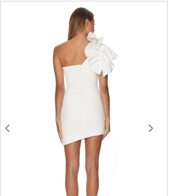 White Dresses One Shoulder Ruffles 4
