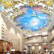 Personalizado murais de papel parede teto zenith hotel ktv teto auto adesivo wallpapers céu azul e nuvens brancas fundo decorat