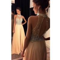 Beautiful Prom Dresses 2019 Halter Neck Crystal Baeding Open Back Straight vestido festa Fashion Evening Gowns Custom Made BH15