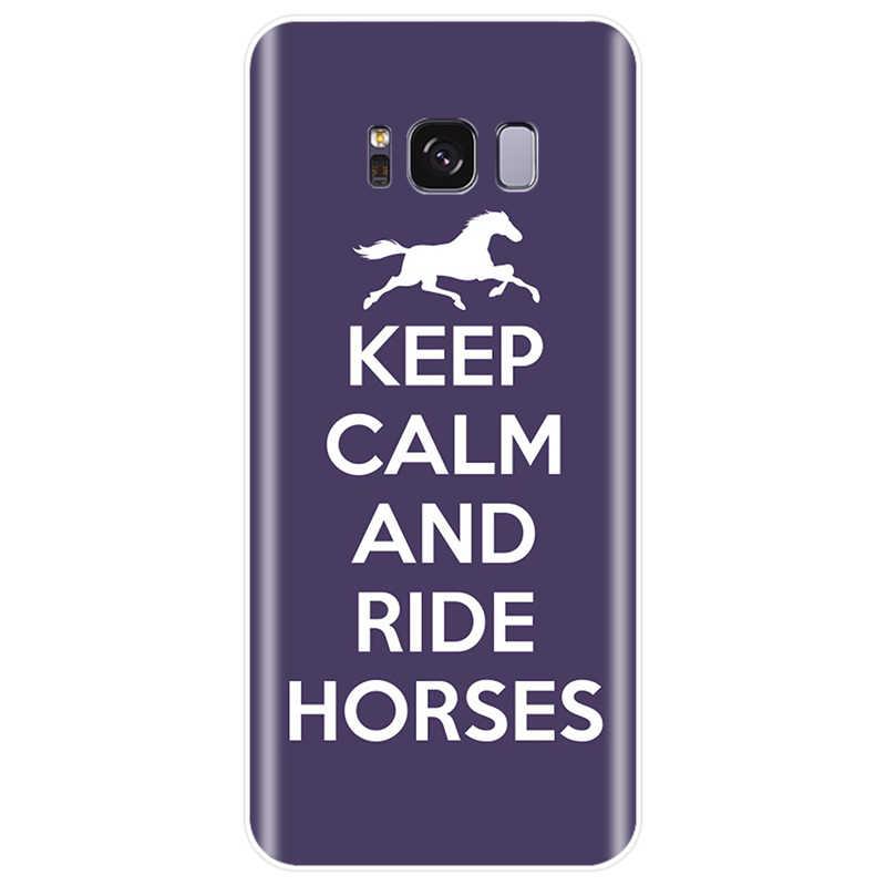 Mantenha A Calma e Monte Sobre Cavalo Pônei Capa de Silicone Suave TPU Caso de Telefone Para Samsung Galaxy S7EDGE S6 S7 S8 s9 S10 PLUS S10LITE NOTE8