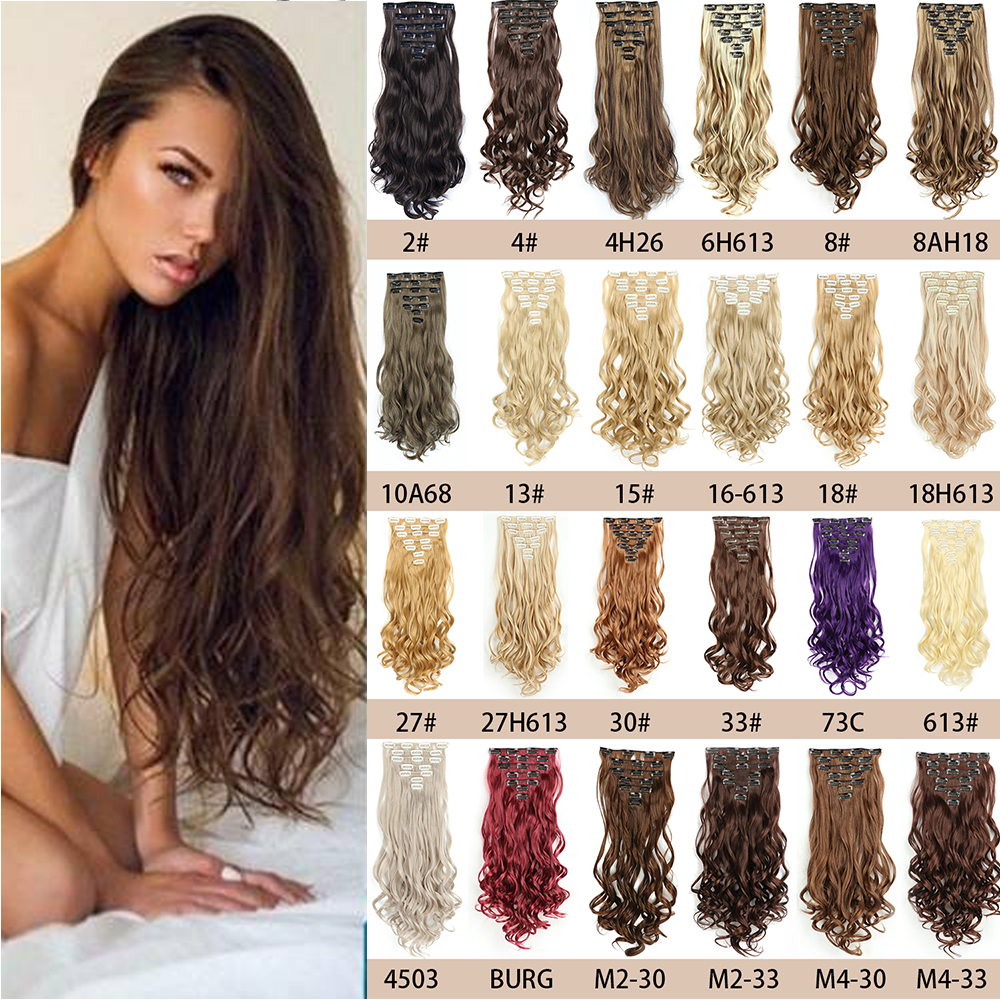 Azqueen  Wave Hair Extensions Invisible Golden black brown Synthetic Naturally no trace Clip hair extension piece