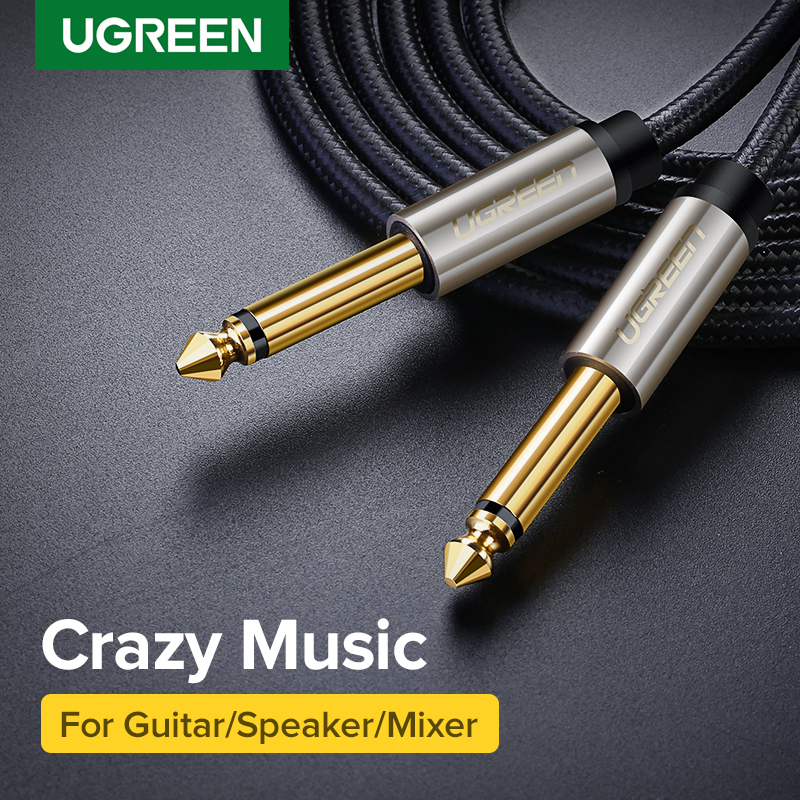 Ugreen 6.5mm Jack Audio Cable Nylon Braided 6.35 Jack Male To Male Aux Cable 1m 2m 3m 5m For Guitar Mixer Amplifier Bass 6.35 Mm