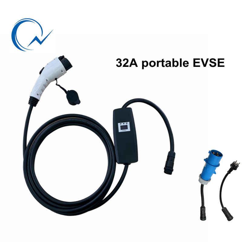 32A портативное зарядное устройство EVSE с адаптером J1772 type1 с синим CEE IP55 портативное автомобильное зарядное устройство EV для Toyota Nissan Ia Eletcirc Van