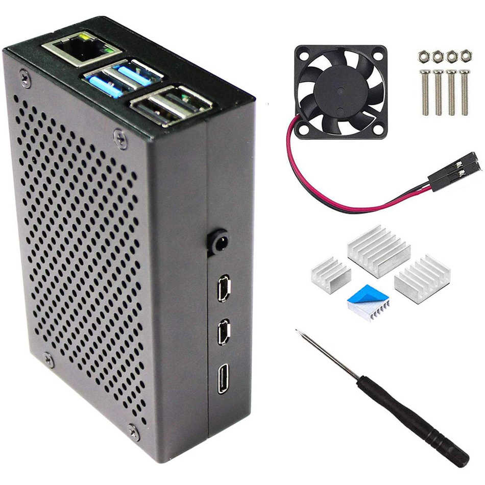 Raspberry Pi 4 Aluminum Case, Pi4 Case with Fan and 4 pcs Heat-Sinks, Raspberry Pi 4B Case with Fan
