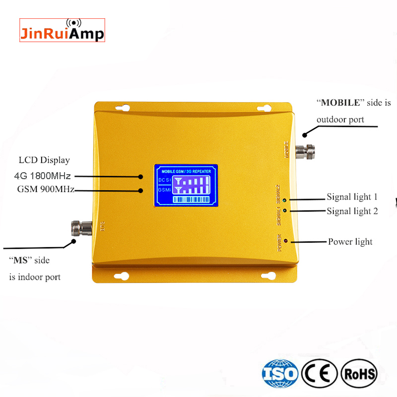 GSM 900 4G LTE 1800 Repeater GSM 1800mhz Mobile Signal Booster 75dB Dual Band Repetidor Celular 3G 4G Antenna