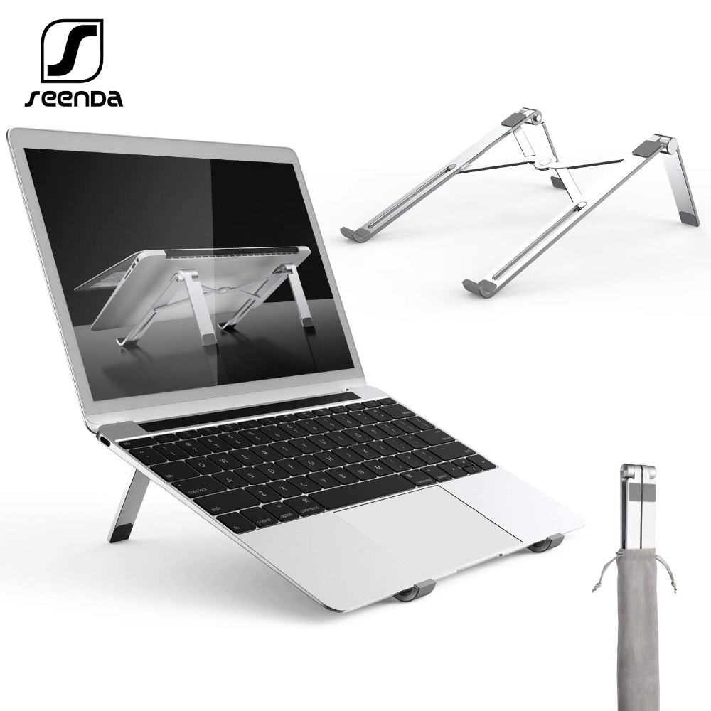 Seenda Folding Adjustable Laptop Stand Aluminum Alloy Portable Tablet Bracket Heat Reduction Holder Support 11-15.6 Inches