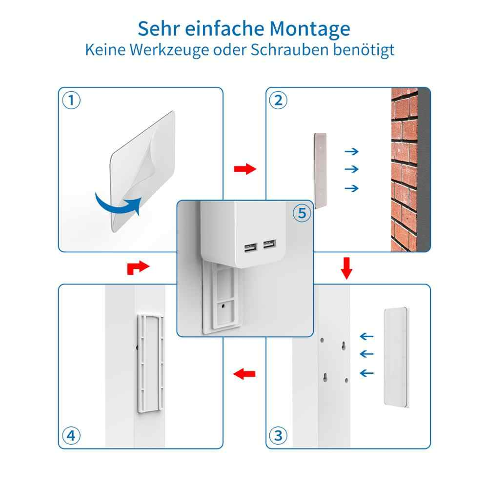 Ntonpower Wandmontage Usb Power Strip Surge Protector Met 3/5 Poorten 2 Usb Extension Socket Eu Plug Voor Thuis Netwerk filter