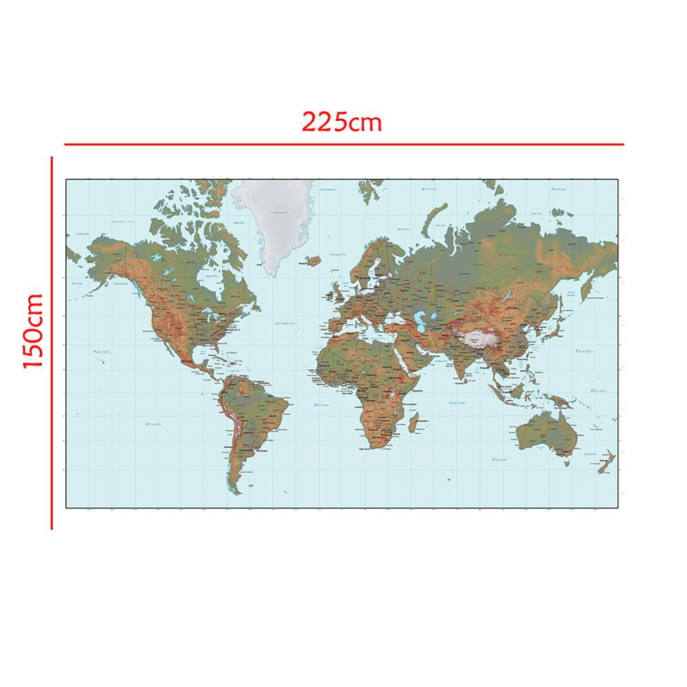 Non-woven Waterproof World Map Without National Flag For Culture 150x225cm