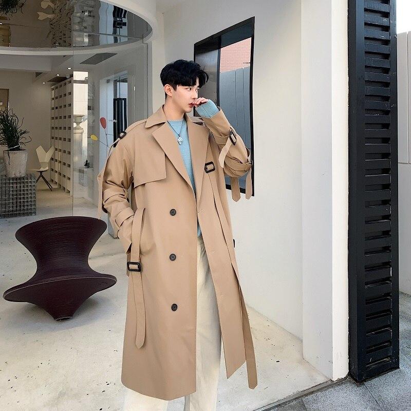 Men Japan Style Streetwear Vintage Fashion Casual Khaki Trench Coat Outerwear Male Loose Long Jacket Overcoat Windbreaker