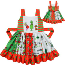Girl Princess Dress Grinch Cartoon Pattern Twirl Christmas Costume For Girls