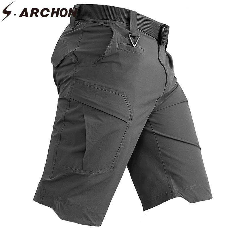 S.ARCHON Summer Tactical Cargo Shorts Men Solid Breathable Quick Dry Ripstop Fitness Gyms Shorts Men Casual Military Shorts Male