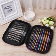 22 pçs mais novo colorido conjunto de malha de alumínio crochê ganchos conjunto de agulhas de tricô 0.6mm-6.5mm perfurador caneta kit