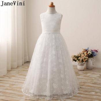 JaneVini Princess Kids Wedding Dresses for Girls White Ivory A Line Floor Length Lace Pageant Flower Girl Dresses for Weddings 2015 elegant a line and knee length flower girl dresses for weddings layered and unique handmade flower design