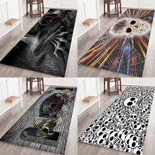 Halloween, skeletons, ghosts, spooks, flannel, home mat, bathroom kitchen bedside mat.