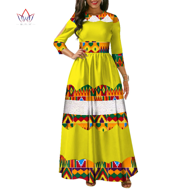 New African Wax Print Dresses For Women Bazin Riche Patchwork Lace Long Dresses Dashiki Women African Clothing Vestidos WY3479