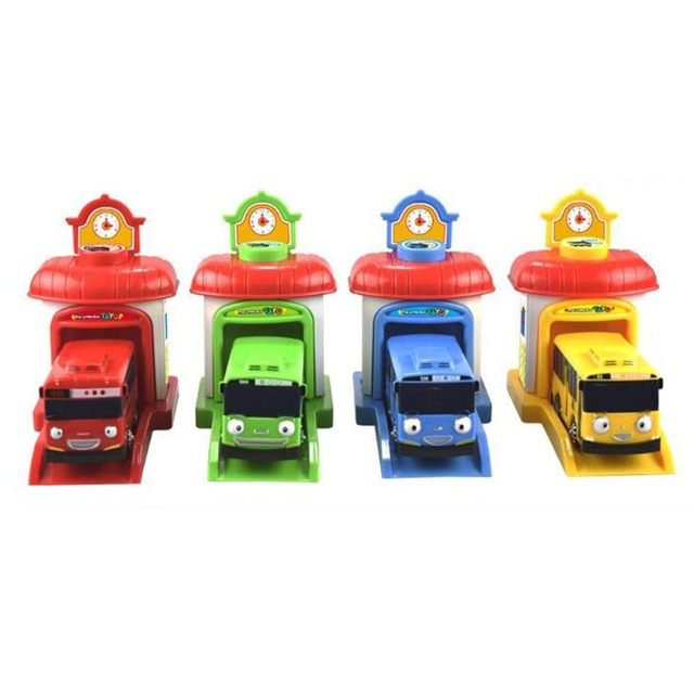 4 Pcs / Set Bus Tayo The Small Bus Miniature Korean Cartoon Oyuncak Araba Mini Plastic Model Pull Back Of The Car Tayo Bus Toy