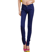 Women's sexy low rise jeans Casual street fashion Bottoms Skinny pants gril elastic Jeans Pencil Pants 20 Color jeans plus size low rise bleach wash skinny jeans