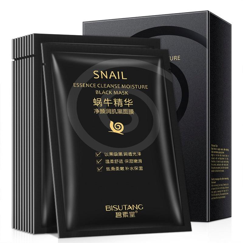 10 Pieces Snail Essence Net Facial Muscle Black Mask Moisturizing Exfoliating Skin Care Skincare Collagen Face Disposable