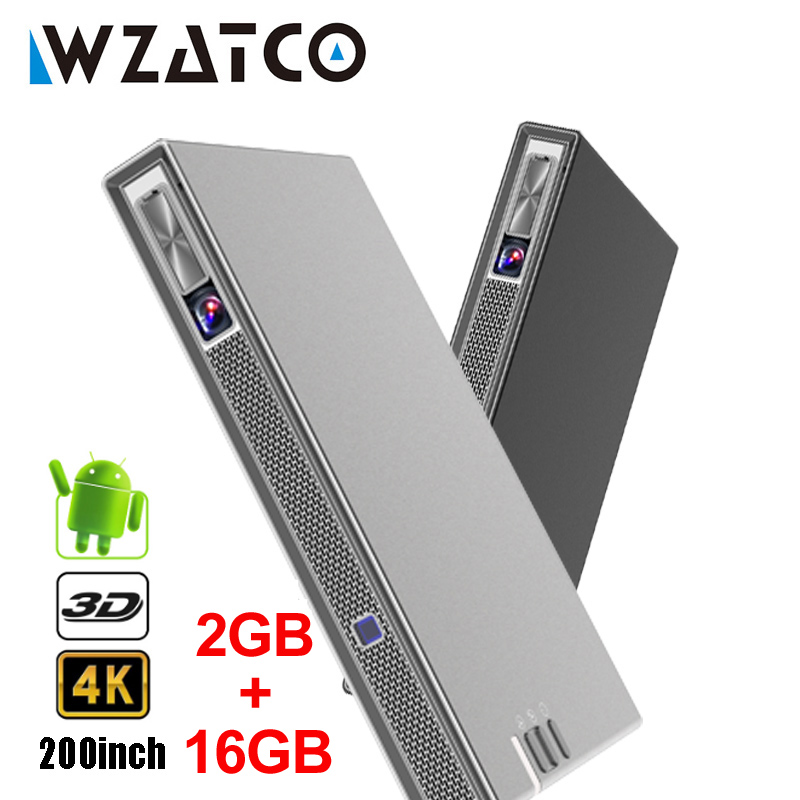 WZATCO T5 MINI projecteur DLP 3D Portable 4K 5G WIFI intelligent Android pour cinéma maison projecteur lAsEr vidéo Full HD 1080P