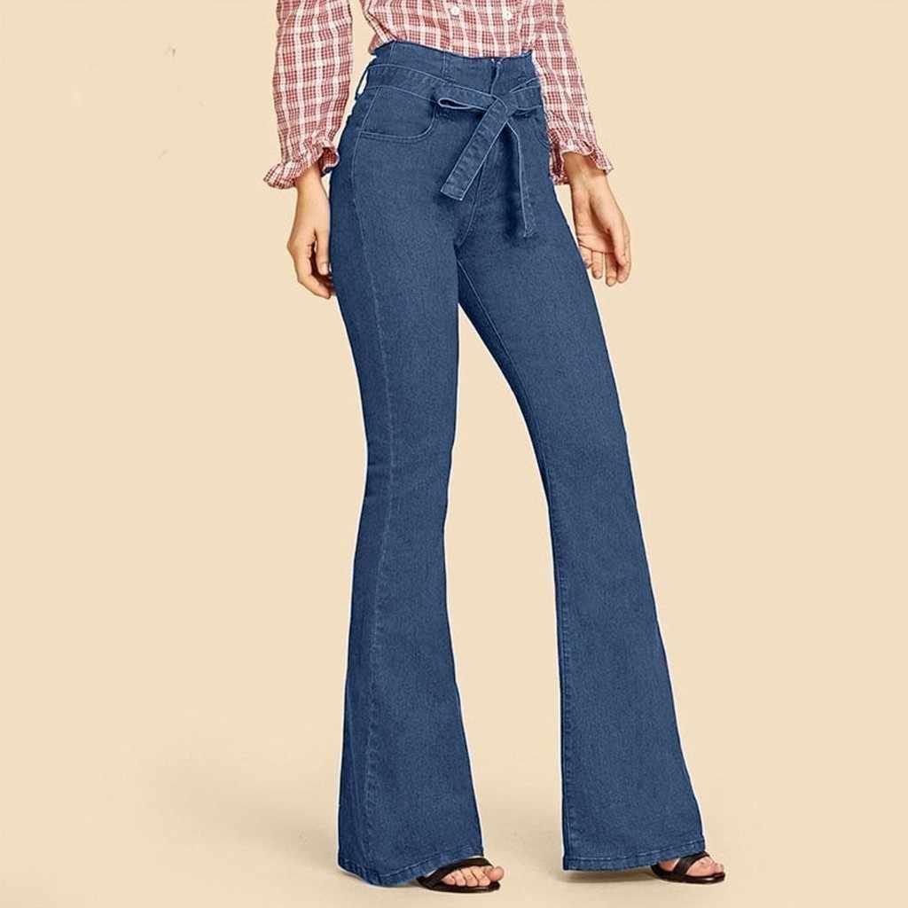 Slim Sexy Jeans Vrouwen Riemen Flare Broek Elegante Vrouwelijke Office Party Casual Denim Lange Broek Stretchy Wide Been Broek Hoge taille
